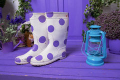 White in lilac peas boots and light lilac interior Royalty Free Stock Images