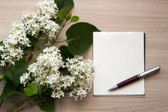 White lilac, a pen and a blank piece of paper on the table Royalty Free Stock Image