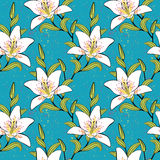 White lilies, romantic, summer pattern. Lilies pattern. Concept of blooming, garden, youth, spring. Texture for wallpaper, textile, wrapping, website or Stock Images