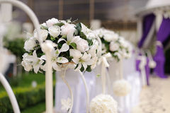 White Lilies and Roses Stock Photo