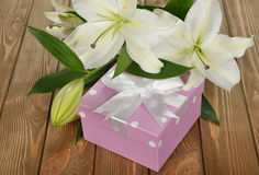 White lily and a box Stock Photography