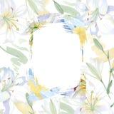 White lily floral botanical flowers. Watercolor background illustration set. Frame border ornament square. White lily floral botanical flowers. Wild spring leaf vector illustration