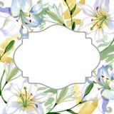 White lily floral botanical flowers. Watercolor background illustration set. Frame border ornament square. White lily floral botanical flowers. Wild spring leaf royalty free illustration