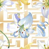 White lily floral botanical flowers. Watercolor background illustration set. Seamless background pattern. vector illustration