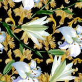 White lily floral botanical flowers. Watercolor background illustration set. Seamless background pattern. stock illustration