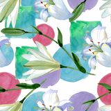 White lily floral botanical flowers. Watercolor background illustration set. Seamless background pattern. stock illustration