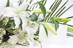 White lily flowers and post card Royalty Free Stock Photo