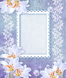 White lily and openwork frame Royalty Free Stock Photo