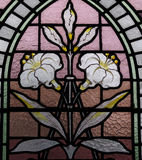 A white lily in stained glass Stock Photo