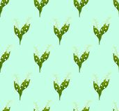 White Lily of the Valley Seamless on Green Mint Background. Vector Illustration.  stock illustration