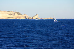 White limestone cliffs of Bonifacio, Corsica Royalty Free Stock Image