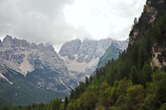 White Limestone Features of Dolomites, Italy. The Dolomite mountain area is characterised by the common pale coloured mountain ranges in the area Royalty Free Stock Photos
