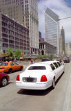 White Limo, Michigan Avenue, Chicago, USA. Luxury transportation, downtown Chicago USA stock images