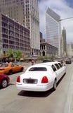 White Limo, Michigan Avenue, Chicago, USA. stock images