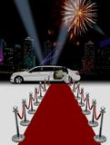 White limo and red carpet. Over building background at night Royalty Free Stock Photos
