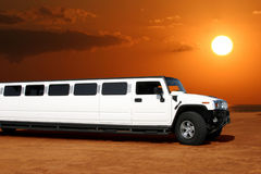 White limousine. On the waterfront in Los Angeles, California Stock Photos
