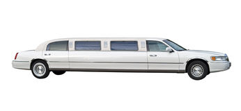 White limousine cutout Royalty Free Stock Photography
