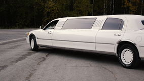 The white limousine is developed to the road near the wood. HD stock video footage