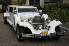 White limousine taken from the right front. White limousine, picture taken from the right front Stock Photo