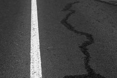White line on asphalt road. Royalty Free Stock Photos