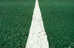 White  line at center of football pitch Royalty Free Stock Photography