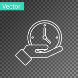 White line Clock icon isolated on transparent background. Time symbol. Vector