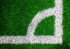 White line of Coner kick area  on soccer field. White line of Coner kick area  on a soccer field Stock Photography