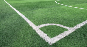 The white line corner on soccer field grass Stock Image