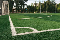 The white line corner on soccer field grass Stock Photography