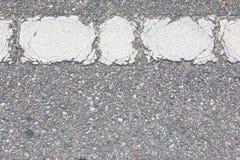White Road Line On Old Asphalt Road stock photography