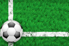 White line and football ball on Sport grass field Royalty Free Stock Image