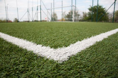 White line on football court Stock Photo