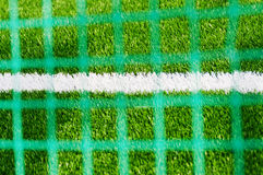 White line on football field with blurried mesh. On foreground Royalty Free Stock Image