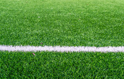 White line on football field Royalty Free Stock Image