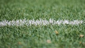 White line on green grass Royalty Free Stock Photography