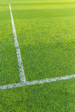 White line on the green turf for football court Royalty Free Stock Image