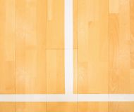 White line in hall playground. Renewal  wooden floor. Of sports hall with colorful marking lines and new lacquered surface Stock Images