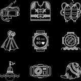 White line icons for diving Royalty Free Stock Photo