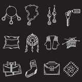 White line icons for handmade items Stock Photos