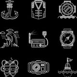 White line icons for marine equipment Stock Image