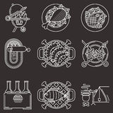 White line icons for picnic Stock Image