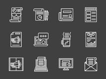 White line marketing icons set. Creating and publishing content, newsletter and blogging. Digital marketing white line style icons on black background. Elements Royalty Free Stock Photography