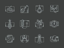 White line New Year celebration icons set. Flat white line style icons collection of New Year and Christmas celebration on black background. New 2016 Year Stock Photo