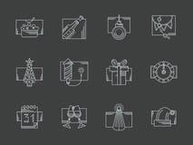 White line New Year celebration icons set Stock Photo