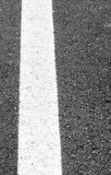 White line painted across the black asphalt road Royalty Free Stock Images