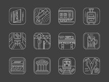 White line railway icons collection Stock Photography