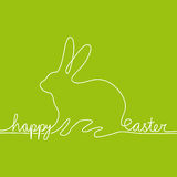 White line reading happy easter shaping hare Royalty Free Stock Photos