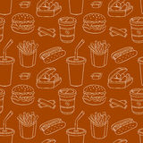 White line seamless pattern with fast food Stock Photography
