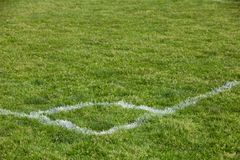 White line on a soccer field Royalty Free Stock Image