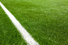 White line on a soccer field grass Royalty Free Stock Photo
